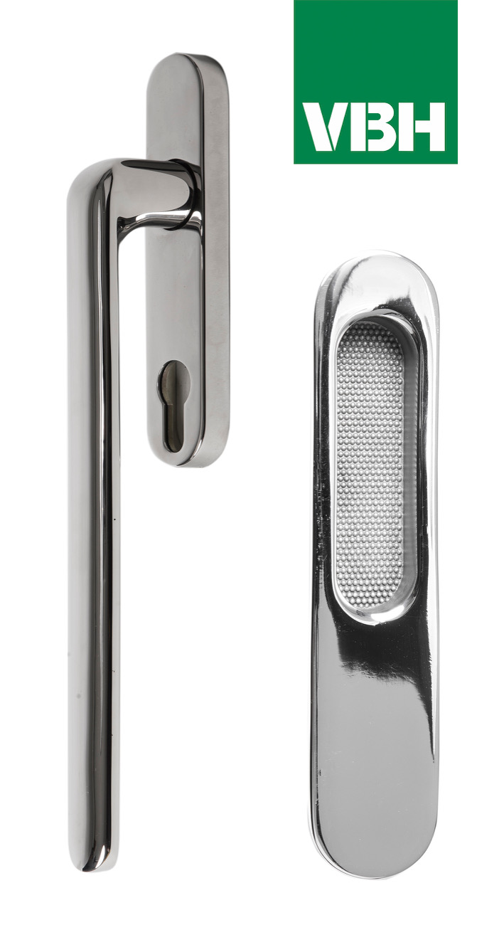 VBH Aspire handle and finger pull in polished chrome